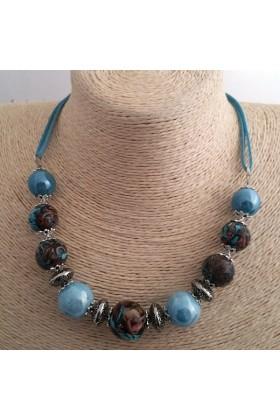Collier ras de cou Fimo turquoise